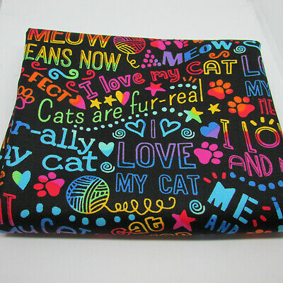 I love my cat rainbow outline by Timeless treasures 100% cotton fabric