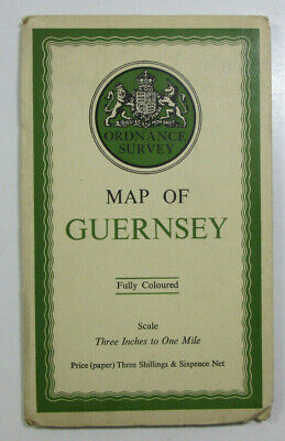 1933 Old Vintage OS Ordnance Survey Three Inches to One Mile Map of Guernsey