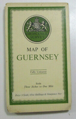 1933 Old OS Ordnance Survey Three Inches to One Mile CLOTH Map of Guernsey