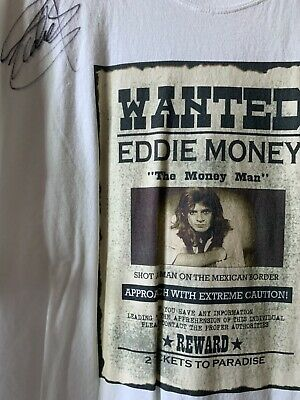 RIP Eddie Money 2 Tickets to Paradise Singer Signed Autograph Inperson T-shirt