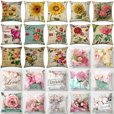 Rose Peony Flower Floral Cushion Covers Throw Pillow Case Home Sofa Car Decor