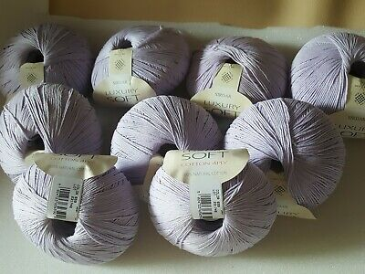 Sirdar Luxury Soft Cotton Yarn 4Ply 100% Natural Cotton Lilac 10X50Gr