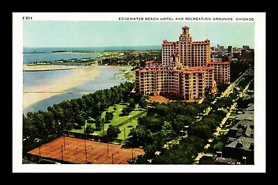 Dr Jim Stamps Us Edgewater Beach Hotel Chicago Illinois White Border Postcard