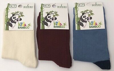 3 Pairs Girl's Boy's Kids Bamboo Soft Anti Bacterial Exclusive Socks 6-7 Years