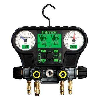 Hilmor 1839010 EG1.2 Digital Electronic Gauge and 4-Valve Manifold with Clamps
