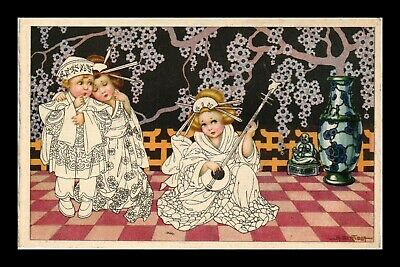 Dr Jim Stamps Girls Japanese Scene Seasons Greetings Topical Made Italy Postcard