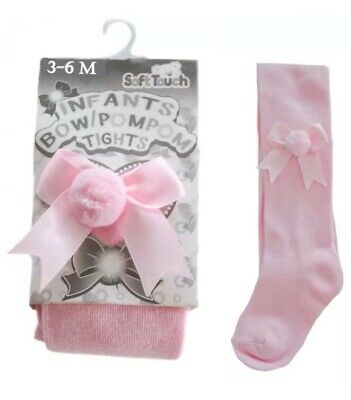 BABY GIRL/INFANT BOW POM POM TIGHTS BY SOFT TOUCH 3-6Mths