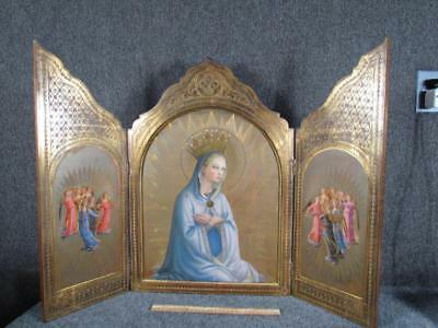 ANTIQUE circa 1900 ITALIAN RELIGIOUS TRIPTYCH of MADONNA, OLD MASTER PAINTING