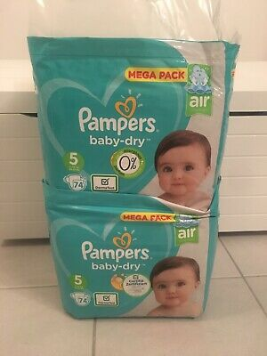 LOT DE 148 Couches Pampers Baby Dry Taille 5 (11 - 16) kg