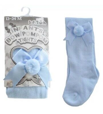Baby Girl/Infant Bow Pom Pom Tights By Soft Touch New Born
