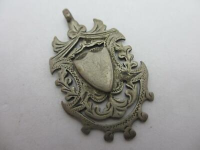 Shield watch Fob Pendant Sterling Silver Antique English Victorian 1897 tbj08491