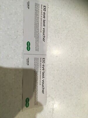 2x Specsavers Eye Test Voucher Coupon Valid 30 September 2019 authentic genuine