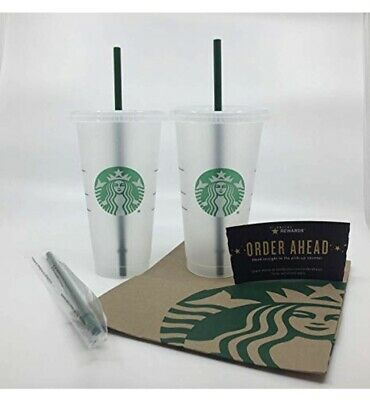 2 Starbucks Reusable Plastic Venti Cup Frosted 24oz Cold Beverage + 2 Straws