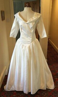 Vintage 1980'S White 'Satin' & Lace Wedding Dress With Train By Creation