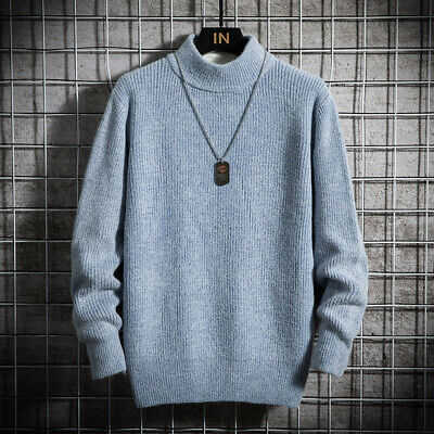 Fashion Men Basic Shirt Pullover Sweaters Knitted Crew Neck Long sleeve Tops sz
