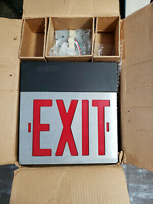 "NEW Light up Stainless Steel Emergency Exit Sign with ""EZ- PLUG"" option"