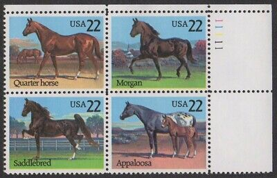#2155-2158 -22¢ Horses Issue -Se-Tenant Plate Block of 16 - Face Value $3.52