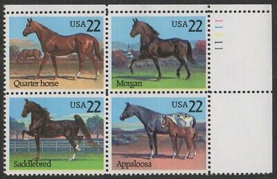 #2155-2158 -22¢ Horses Issue -Se-Tenant Plate Block of 4 - Face Value 88¢