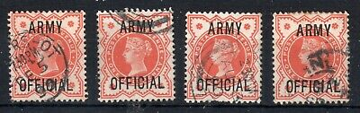 GB = QV 1/2d ARMY OFFICIAL. SG O41. Used. Choose your stamp at Checkout.