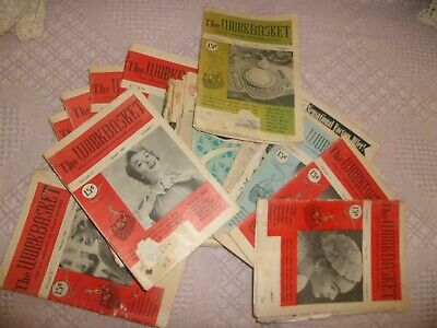 Vintage Lot Of 17 Workbasket Magazines All 1950'S Crochet Knit Ads
