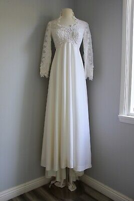 Vintage 1970s Boho Wedding Dress Bridal Gown Maxi Train S William Cahill