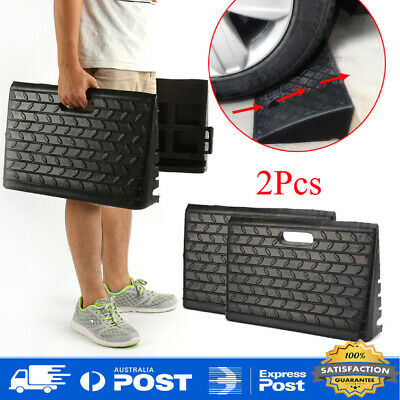 2pcs Heavy Duty  Rubber Leveling Kerb Ramp - Truck Wheelchair Car Ramps AU