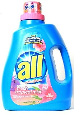 1 Bottle All With Stainlifters 100 Oz Fresh Tropical Mist 66 Loads Detergent