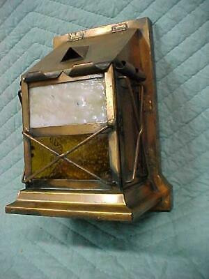 Antique Arts & Crafts Copper & Slag Glass Light Up Mail Box Very Unusual!