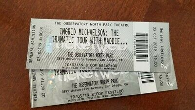2 Ingrid Michaelson concert tickets - Oct 3 - The Observatory North Park - $80
