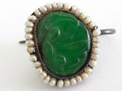 Antique Qing Chinese Genuine Imperial Green Jade Seed Pearl Single Earring Parts