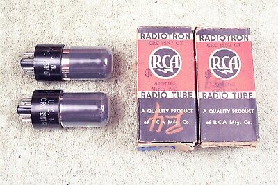 Two, NEW, RCA, USN-CRC-6SN7GT, NAVY, wartime, smoked, match date pr#2, VT-231 eq