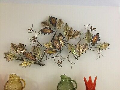 LARGE Curtis Jere Signed Mid Century Modern Wall Sculputure Oak Leaves