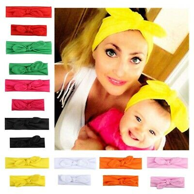 2Pcs/Set Women Baby Girl Elastic Bow Knotted Turban Hair Band Headband Headwear