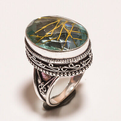 Designer .925 Silver Plated Hand Carving Ring Size-6.75 Jewelry JA613