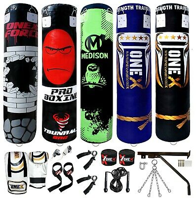 ONEX 5ft Filled Hanging Boxing Punch Bag Set Heavy MMA Punching Training Pads