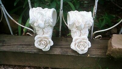 VTG Pair Corbel Cottage Chic Roses Curtain Drapery Rod Swag Holders Brackets