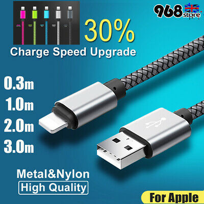 UK 1M-3M Long Braided USB 3.1 High-Speed Charger Cable Lead For Ipone 8 7 6 Plus