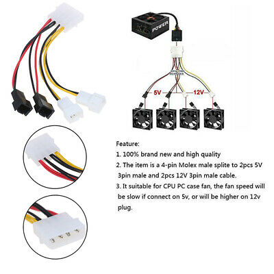 PC 4-Pin Molex/IDE to 3-Pin CPU/Chasis/Case Fan Power Cable Adapter Connector.