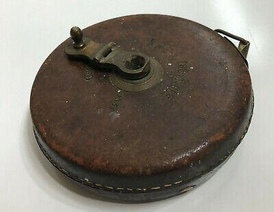 Treble England Leather Cased Tape measure No 1534 length 66' Brass handle