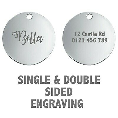 Round Engraved Dog Tag Id Name Disc Large/Small Personalised Pet/Cat Tags