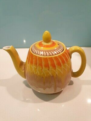 Vintage Shelley Art Deco Small Teapot Harmony Orange Dripware Handpainted 1930's