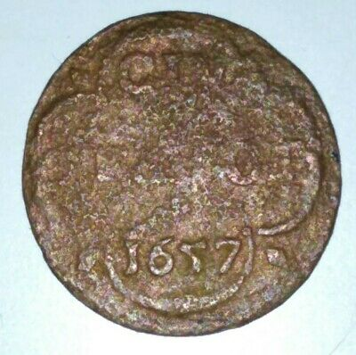 Spanish / Netherlands Provincial Pirate 1657 Duit  Very Rare