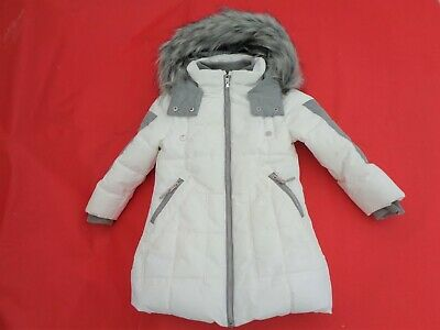 Girls Coat Age 5 Yrs White Quilted Fur Hood Front Pockets Zip Front Lined Next