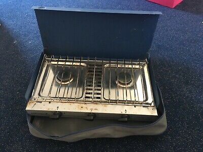Campingaz Camping Chef Folding Double Burner Stove Portable Cooker With Grill