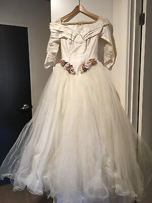 Beautiful raw silk and tulle wedding dress and veil