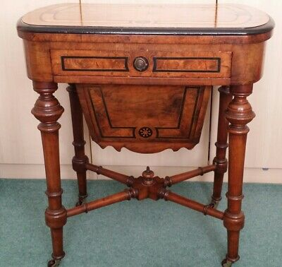 Antique Burr Walnut sewing/games table