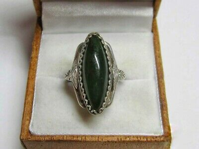 Vintage USSR Beautiful Ring NEPHRITE Stone Silver 875 Soviet Antique Size 7.5