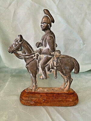Vintage British Colonial Soldier & Horse  Antique Brass and Cast Iron Doorstop