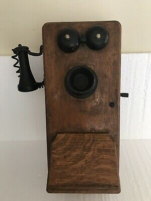 Antique VTG STROMBERG-CARLSON Telephone Oak Wood Hand Crank Wall Box early 1900s