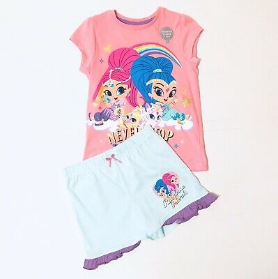 George Girls Pyjamas Shimmer And Shine Age 4-5 Years Top And Shorts Set Pink